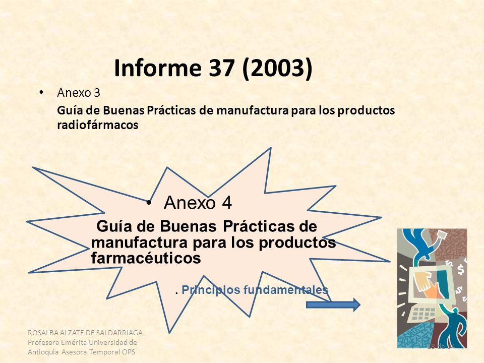 ROSALBA ALZATE DE SALDARRIAGA Profesora Emérita Universidad de Antioquia Asesora Temporal OPS 18 de 34 Informe 37 (2003) Anexo 3 Guía de Buenas Prácti