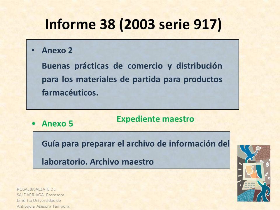 ROSALBA ALZATE DE SALDARRIAGA Profesora Emérita Universidad de Antioquia Asesora Temporal OPS 21 de 34 Informe 38 (2003 serie 917) Anexo 2 Buenas prác