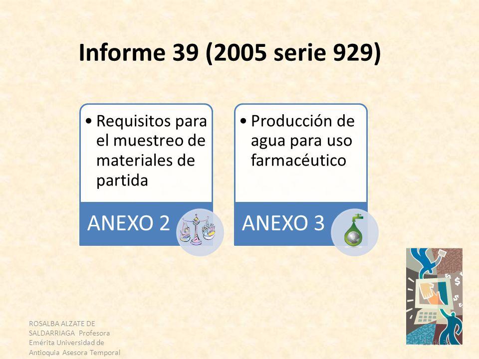 ROSALBA ALZATE DE SALDARRIAGA Profesora Emérita Universidad de Antioquia Asesora Temporal OPS 22 de 34 Informe 39 (2005 serie 929) Requisitos para el