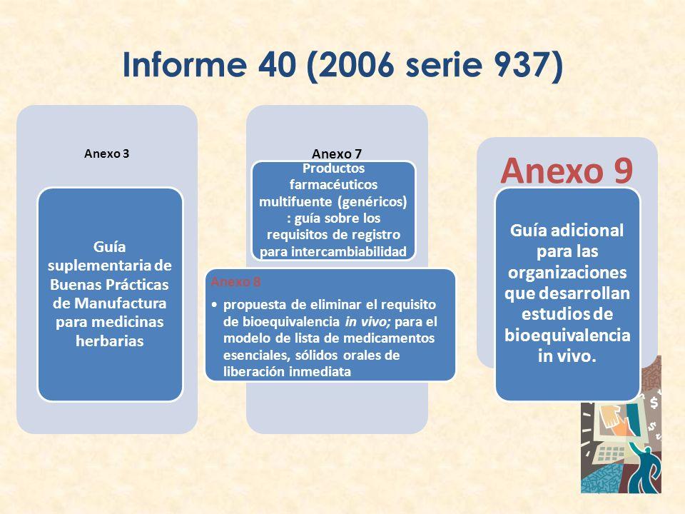 Informe 40 (2006 serie 937) Anexo 3 Guía suplementaria de Buenas Prácticas de Manufactura para medicinas herbarias Anexo 7 Productos farmacéuticos mul