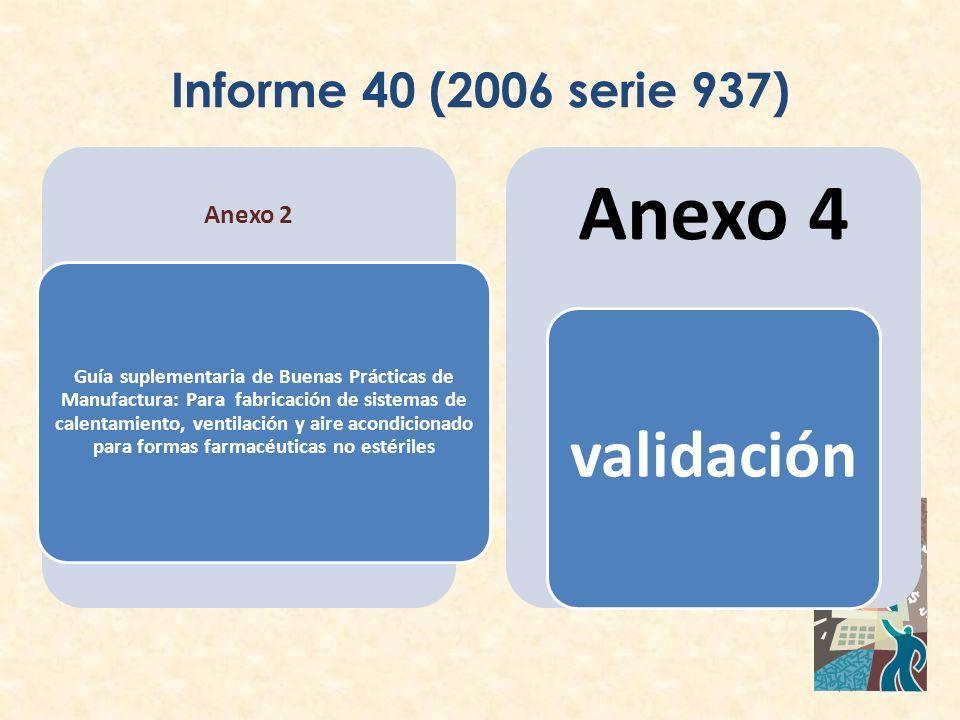 Informe 40 (2006 serie 937) Anexo 2 Guía suplementaria de Buenas Prácticas de Manufactura: Para fabricación de sistemas de calentamiento, ventilación