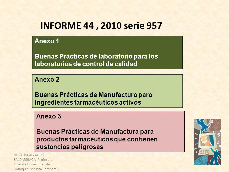 ROSALBA ALZATE DE SALDARRIAGA Profesora Emérita Universidad de Antioquia Asesora Temporal OPS 28 de 56 INFORME 44, 2010 serie 957 Anexo 1 Buenas Práct