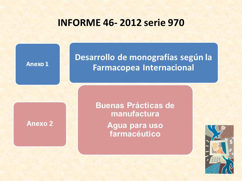 Anexo 1 Desarrollo de monografías según la Farmacopea Internacional Buenas Prácticas de manufactura Agua para uso farmacéutico Anexo 2 INFORME 46- 201