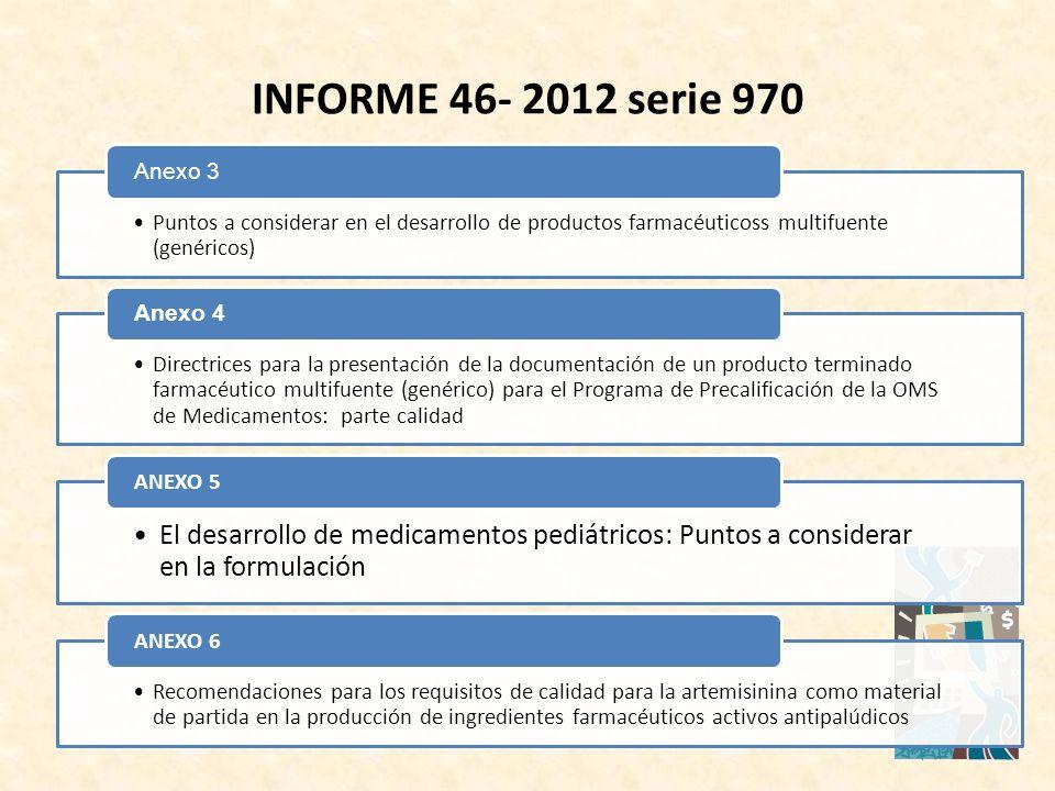 Puntos a considerar en el desarrollo de productos farmacéuticoss multifuente (genéricos) Anexo 3 Directrices para la presentación de la documentación