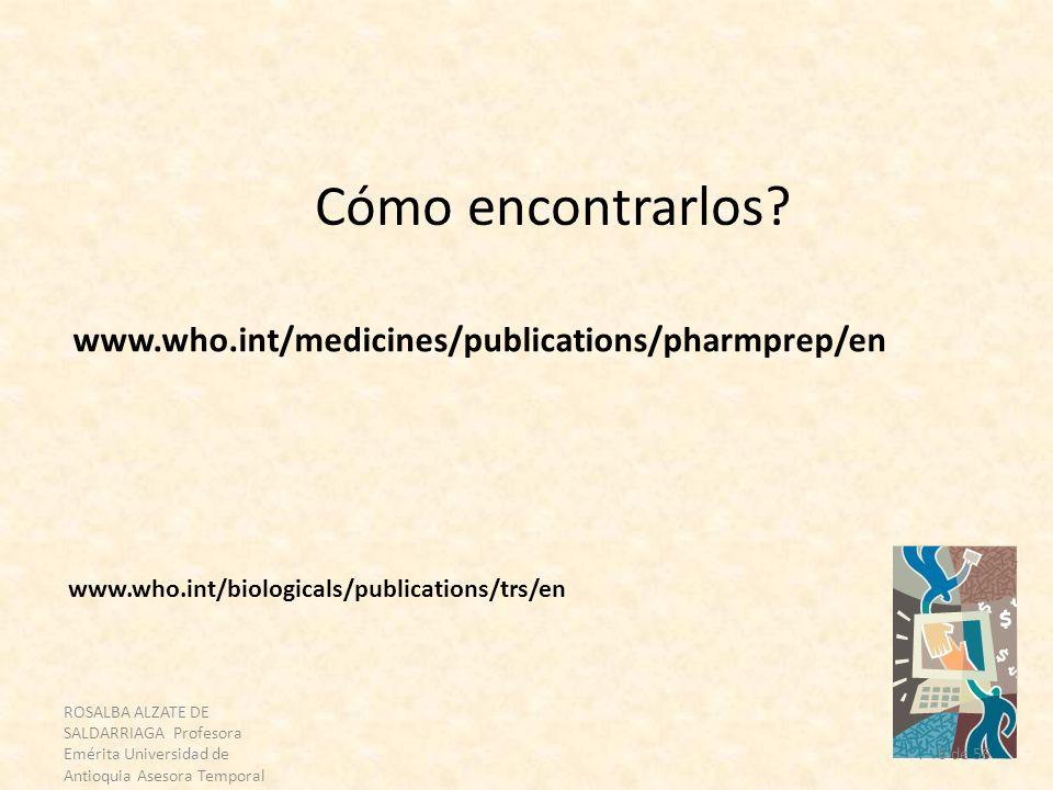6 de 56 Cómo encontrarlos? www.who.int/medicines/publications/pharmprep/en www.who.int/biologicals/publications/trs/en