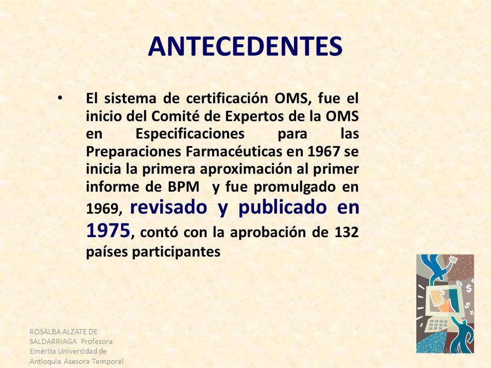 ROSALBA ALZATE DE SALDARRIAGA Profesora Emérita Universidad de Antioquia Asesora Temporal OPS 7 de 34 ANTECEDENTES El sistema de certificación OMS, fu