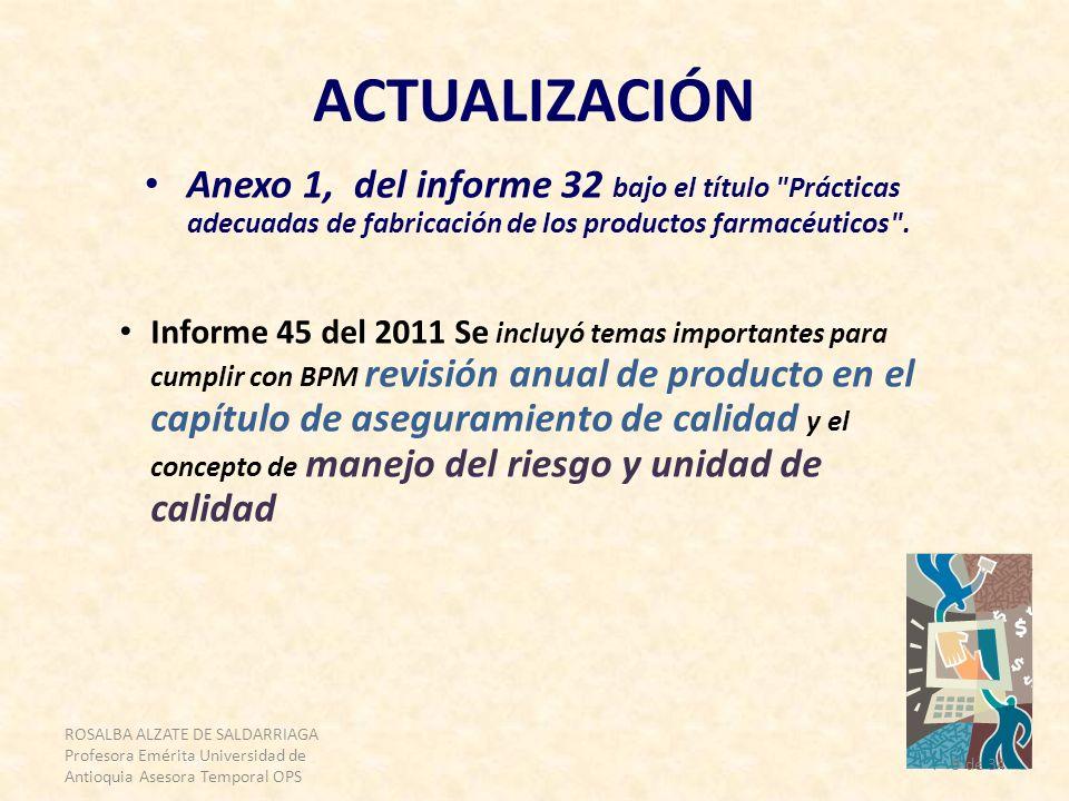 ROSALBA ALZATE DE SALDARRIAGA Profesora Emérita Universidad de Antioquia Asesora Temporal OPS 9 de 34 ACTUALIZACIÓN Informe 45 del 2011 Se incluyó tem