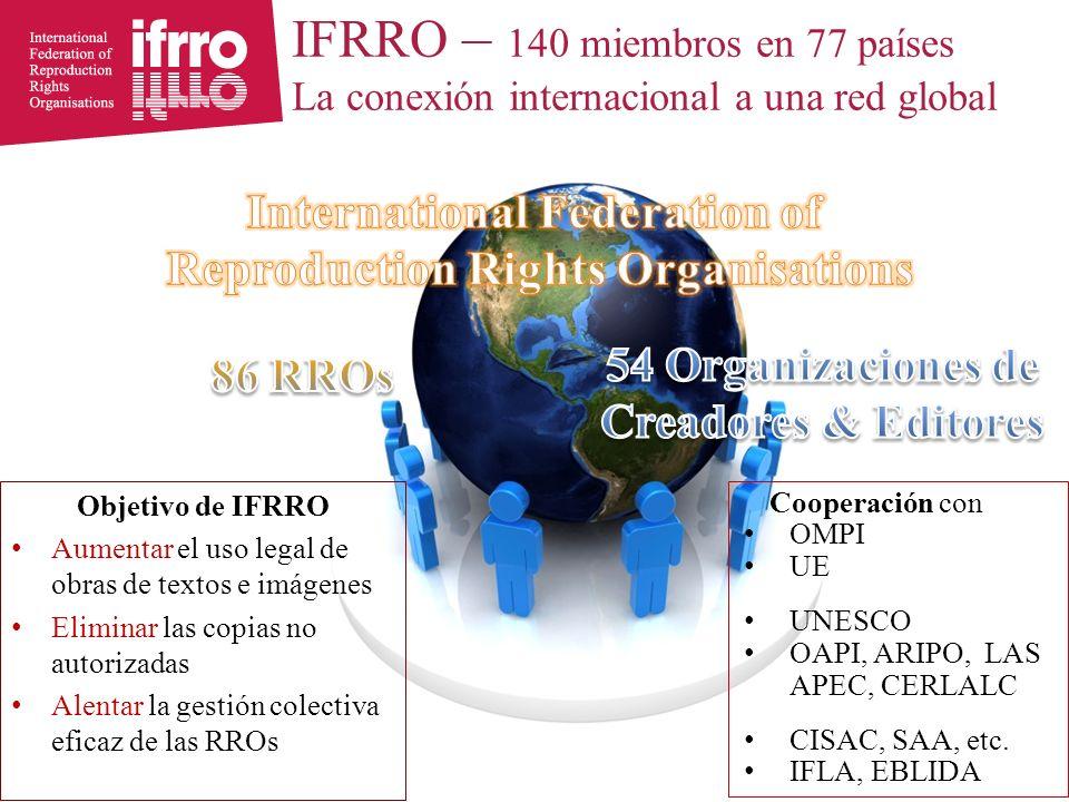 IFRRO – 140 miembros en 77 países La conexión internacional a una red global Objetivo de IFRRO Aumentar el uso legal de obras de textos e imágenes Eliminar las copias no autorizadas Alentar la gestión colectiva eficaz de las RROs Cooperación con OMPI UE UNESCO OAPI, ARIPO, LAS APEC, CERLALC CISAC, SAA, etc.