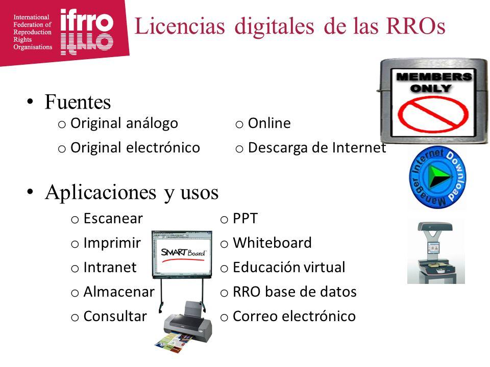 Licencias digitales de las RROs Fuentes Aplicaciones y usos o Escanear o PPT o Imprimir o Whiteboard o Intranet o Educación virtual o Almacenar o RRO base de datos o Consultar o Correo electrónico o Original análogo o Online o Original electrónico o Descarga de Internet