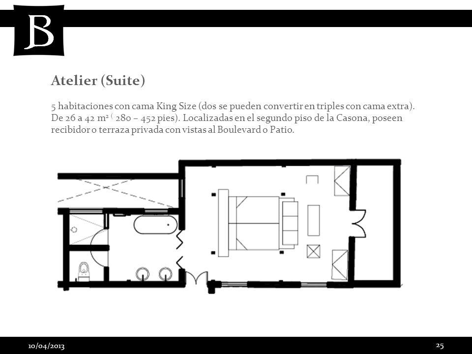 10/04/2013 25 5 habitaciones con cama King Size (dos se pueden convertir en triples con cama extra). De 26 a 42 m 2 ( 280 – 452 pies). Localizadas en