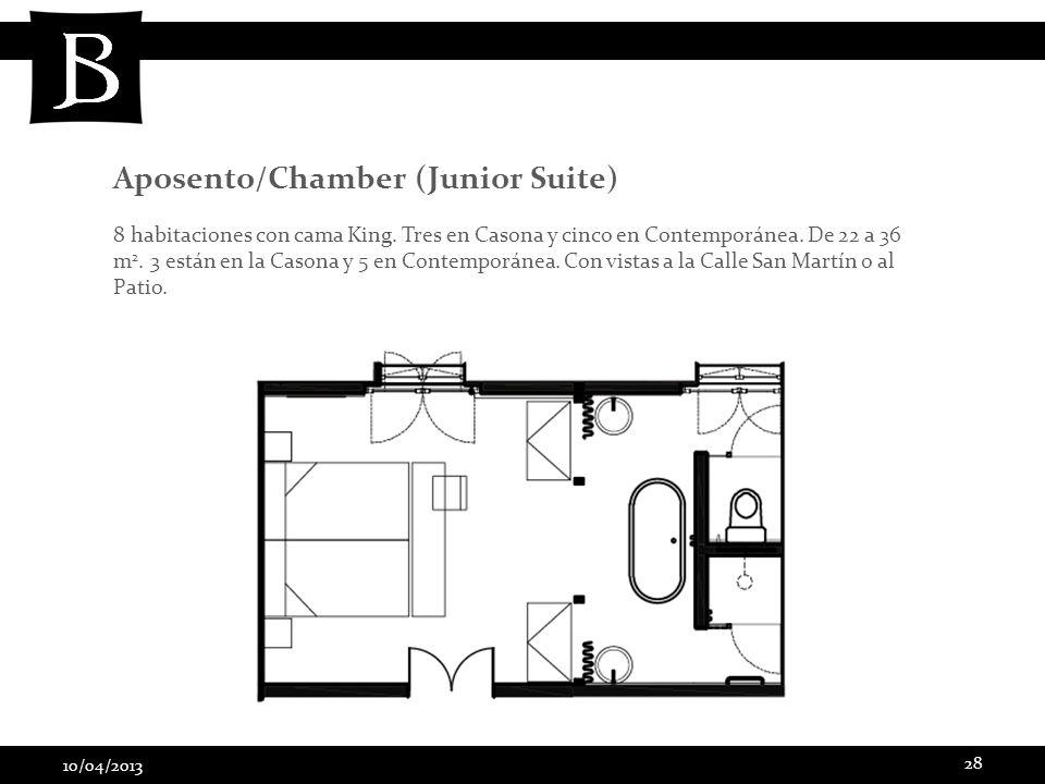 10/04/2013 28 8 habitaciones con cama King. Tres en Casona y cinco en Contemporánea. De 22 a 36 m 2. 3 están en la Casona y 5 en Contemporánea. Con vi