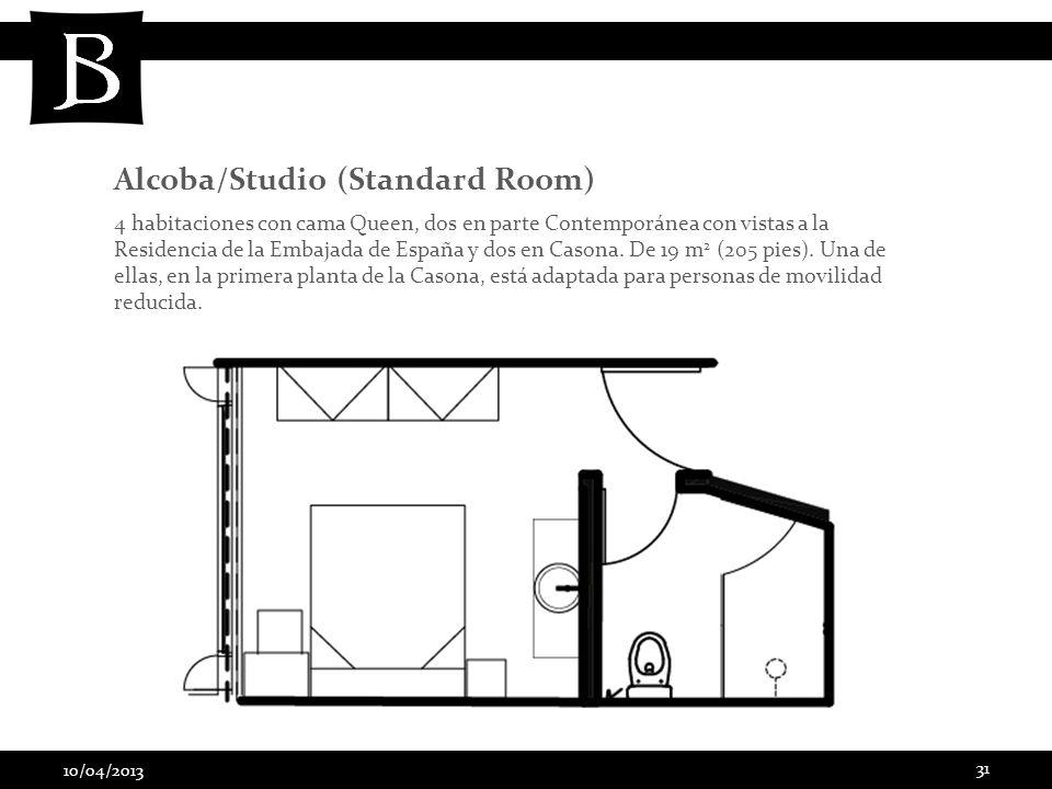 10/04/2013 31 4 habitaciones con cama Queen, dos en parte Contemporánea con vistas a la Residencia de la Embajada de España y dos en Casona. De 19 m 2