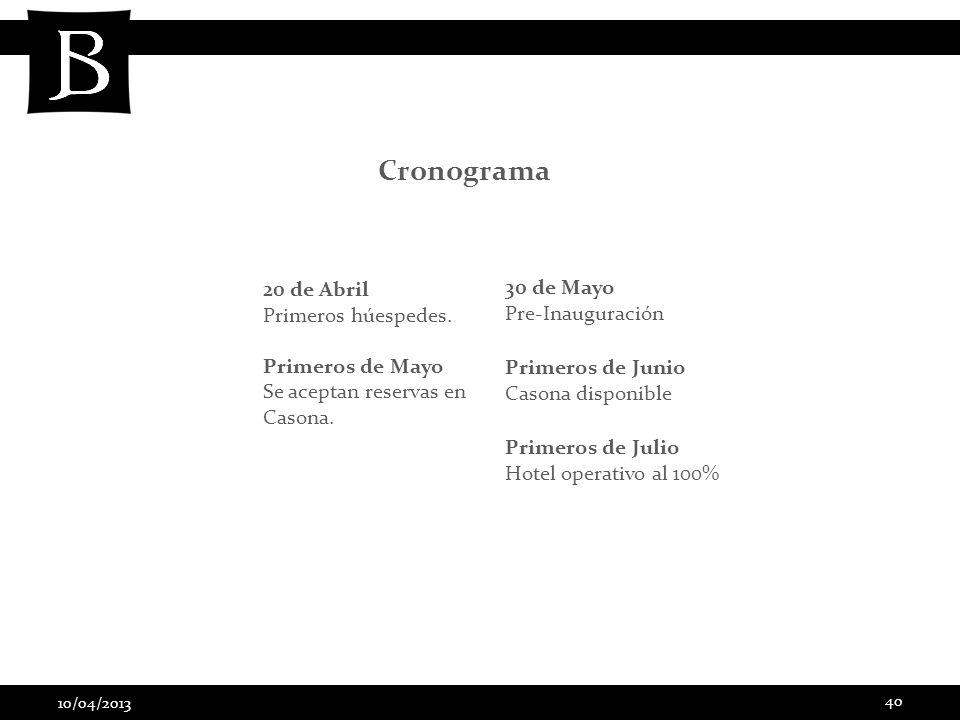 10/04/2013 40 Cronograma 20 de Abril Primeros húespedes. Primeros de Mayo Se aceptan reservas en Casona. 30 de Mayo Pre-Inauguración Primeros de Junio
