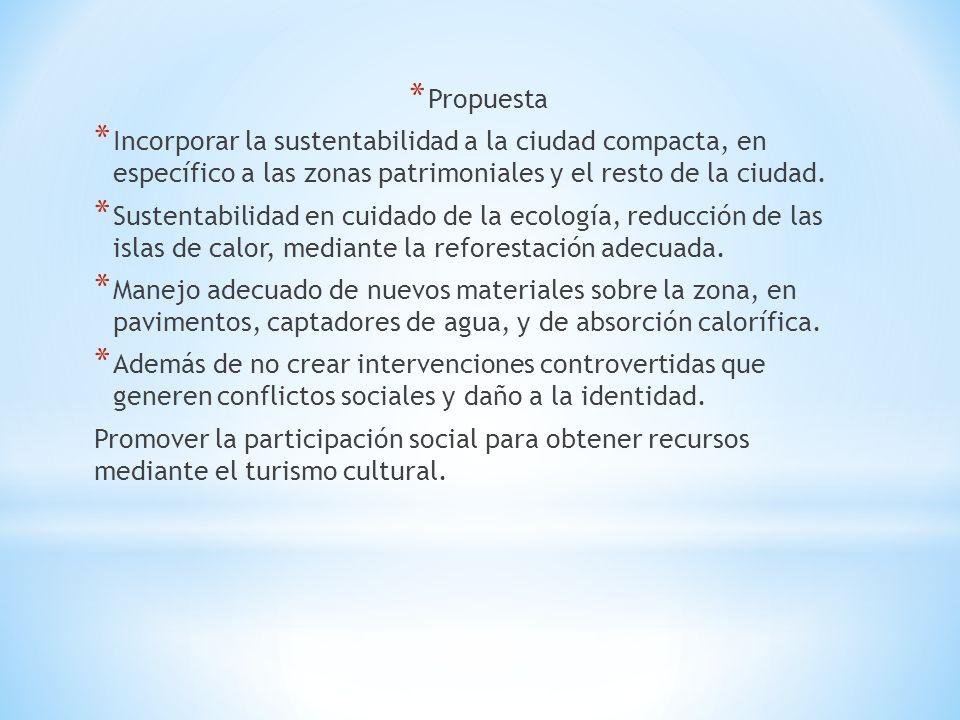* Propuesta * Incorporar la sustentabilidad a la ciudad compacta, en específico a las zonas patrimoniales y el resto de la ciudad.