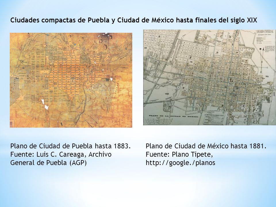 Ciudades compactas de Puebla y Ciudad de México hasta finales del siglo XIX Plano de Ciudad de Puebla hasta 1883.