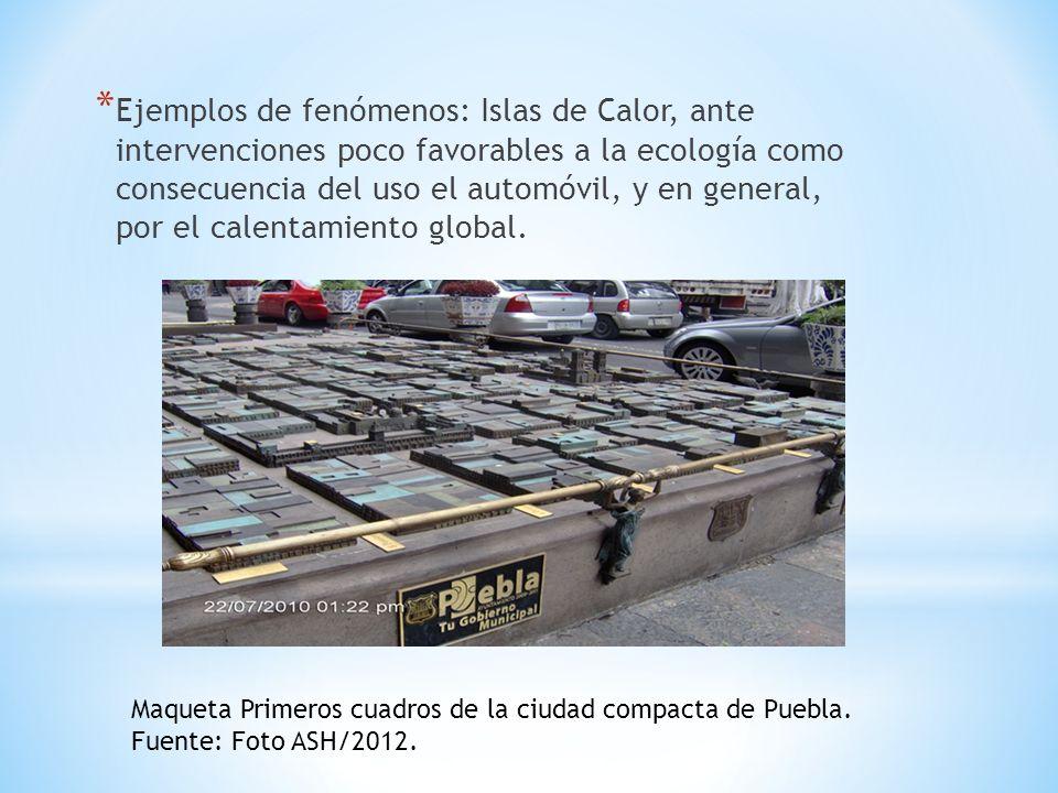 * Ejemplos de fenómenos: Islas de Calor, ante intervenciones poco favorables a la ecología como consecuencia del uso el automóvil, y en general, por el calentamiento global.