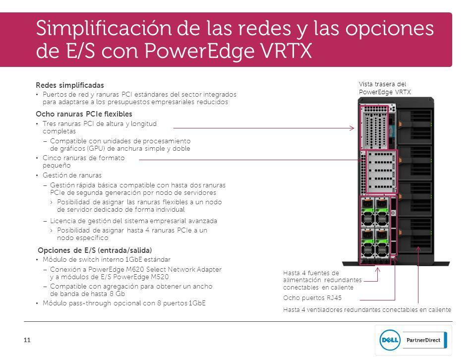 11 Simplificación de las redes y las opciones de E/S con PowerEdge VRTX Redes simplificadas Puertos de red y ranuras PCI estándares del sector integra