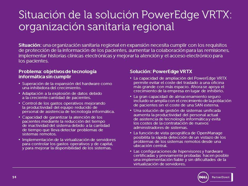 14 Situación de la solución PowerEdge VRTX: organización sanitaria regional Situación: una organización sanitaria regional en expansión necesita cumpl