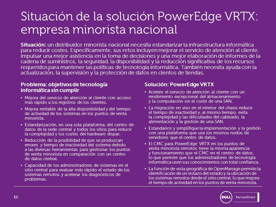 15 Situación de la solución PowerEdge VRTX: empresa minorista nacional Situación: un distribuidor minorista nacional necesita estandarizar la infraest