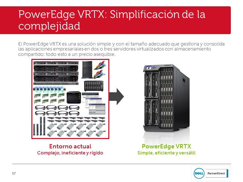 17 PowerEdge VRTX: Simplificación de la complejidad El PowerEdge VRTX es una solución simple y con el tamaño adecuado que gestiona y consolida las apl
