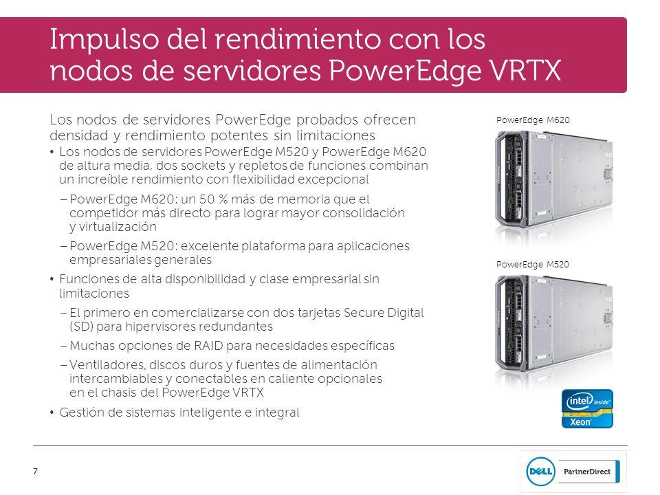 7 PowerEdge M520 PowerEdge M620 Impulso del rendimiento con los nodos de servidores PowerEdge VRTX Los nodos de servidores PowerEdge probados ofrecen