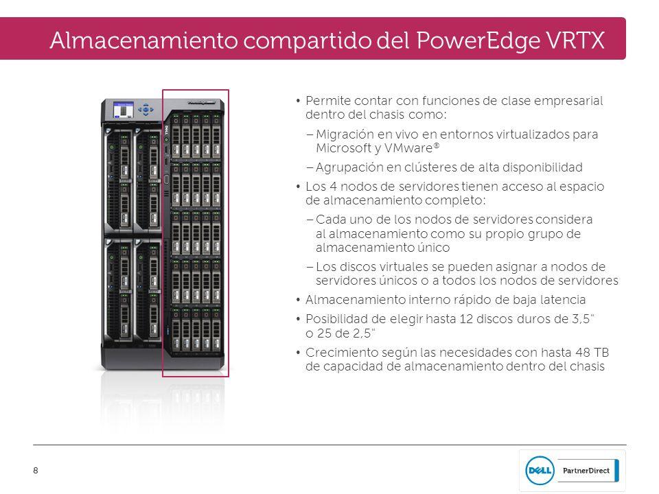8 Almacenamiento compartido del PowerEdge VRTX Permite contar con funciones de clase empresarial dentro del chasis como: – Migración en vivo en entorn