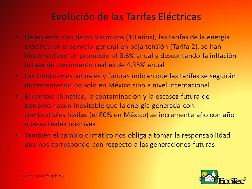 Evolución de las Tarifas Eléctricas De acuerdo con datos históricos (10 años), las tarifas de la energía eléctrica en el servicio general en baja tensión (Tarifa 2), se han incrementado en promedio el 8.6% anual y descontando la inflación la tasa de crecimiento real es de 4.35% anual Las condiciones actuales y futuras indican que las tarifas se seguirán incrementando no solo en México sino a nivel internacional El cambio climático, la contaminación y la escasez futura de petróleo hacen inevitable que la energía generada con combustibles fósiles (el 80% en México) se incremente año con año a tasas reales positivas También el cambio climático nos obliga a tomar la responsabilidad que nos corresponde con respecto a las generaciones futuras Fuente: www.cfe.gob.mx