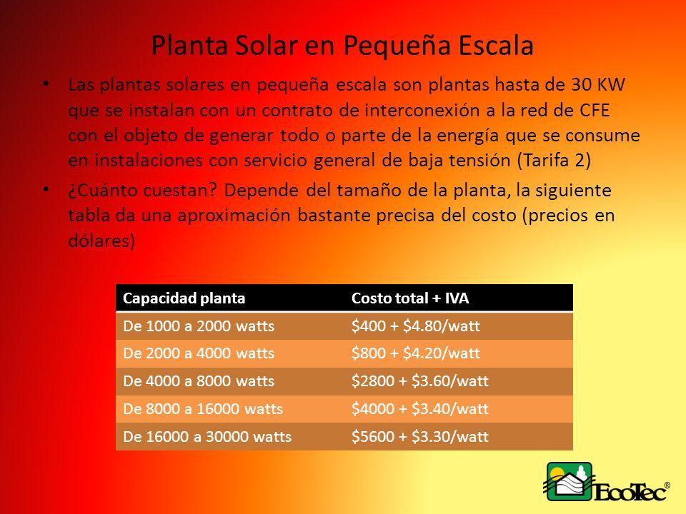 Planta Solar en Pequeña Escala Las plantas solares en pequeña escala son plantas hasta de 30 KW que se instalan con un contrato de interconexión a la