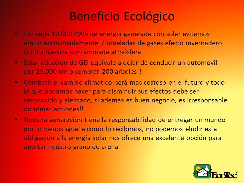 Beneficio Ecológico Por cada 10,000 KWh de energía generada con solar evitamos emitir aproximadamente 7 toneladas de gases efecto invernadero (GEI) a nuestra contaminada atmósfera Esta reducción de GEI equivale a dejar de conducir un automóvil por 25,000 km o sembrar 200 árboles!.