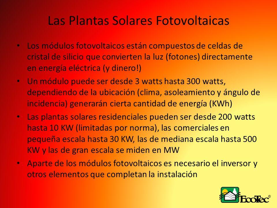 Las Plantas Solares Fotovoltaicas Los módulos fotovoltaicos están compuestos de celdas de cristal de silicio que convierten la luz (fotones) directame