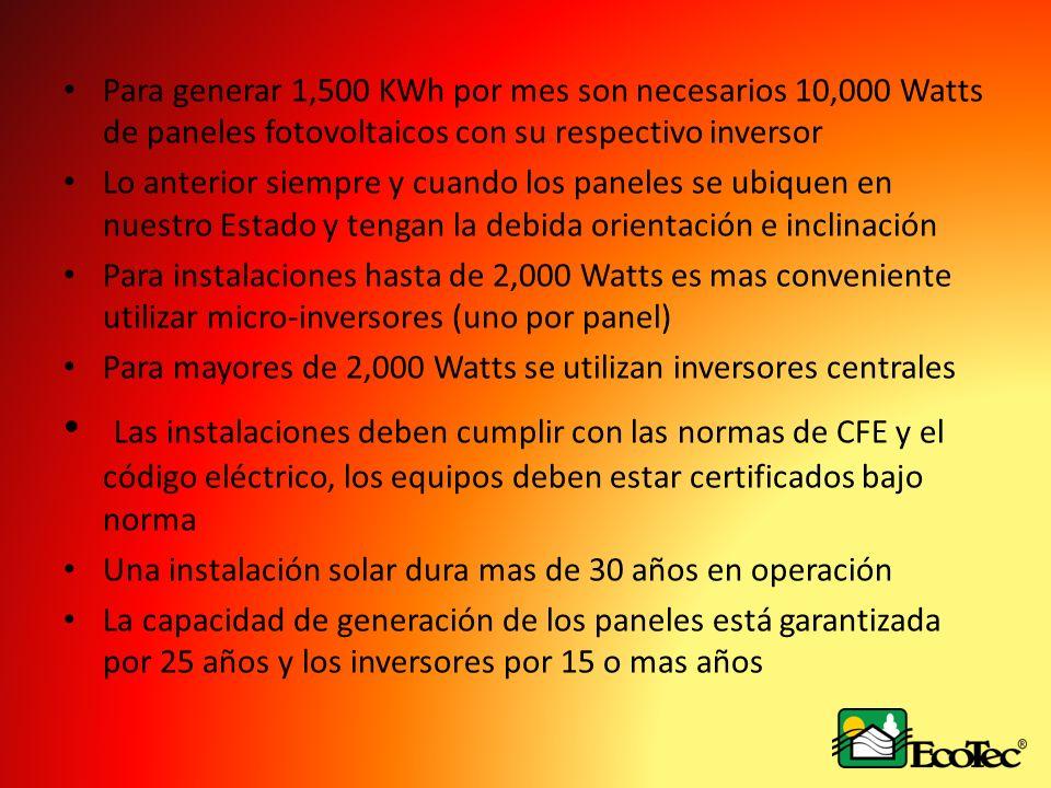 Para generar 1,500 KWh por mes son necesarios 10,000 Watts de paneles fotovoltaicos con su respectivo inversor Lo anterior siempre y cuando los panele