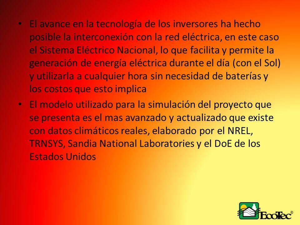 El avance en la tecnología de los inversores ha hecho posible la interconexión con la red eléctrica, en este caso el Sistema Eléctrico Nacional, lo qu