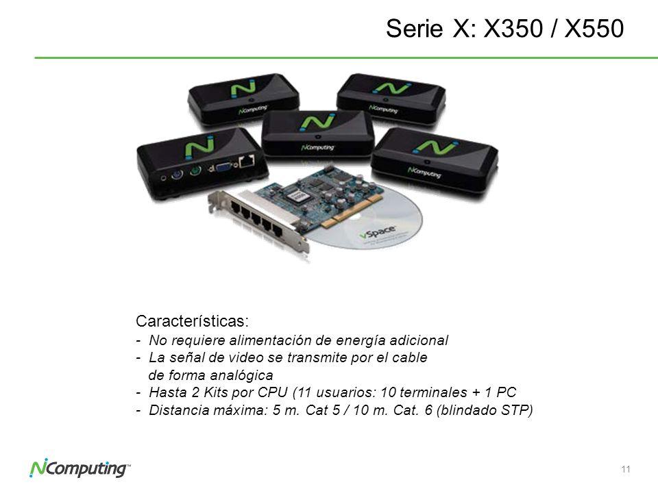 10 Serie X: X350 / X550 Kit: 1 Tarjeta PCI y 3 o 5 dispositivos de acceso Conectores: 1 VGA 2 PS/2 (Teclado y ratón) 1 Salida de audio 1 Conector RJ45