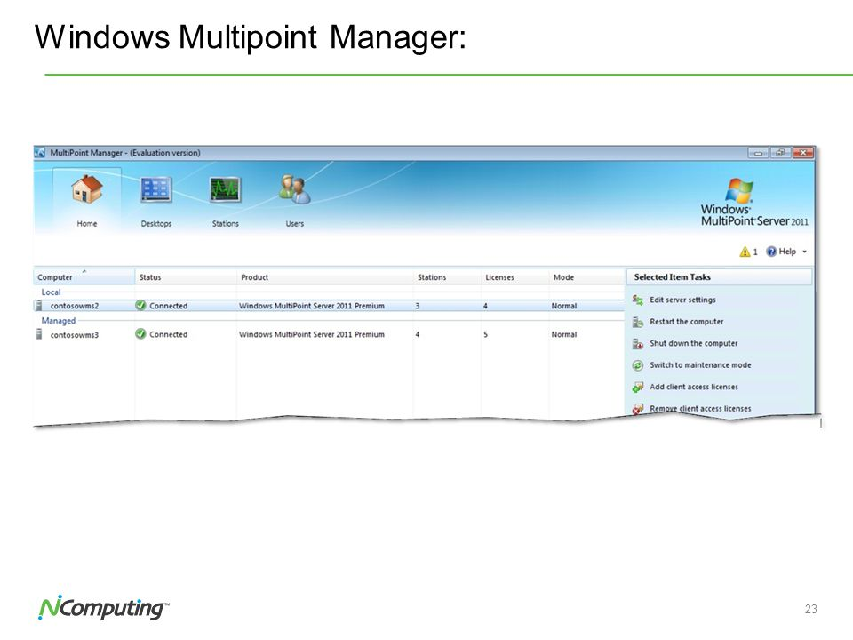 22 Windows Multipoint Manager: