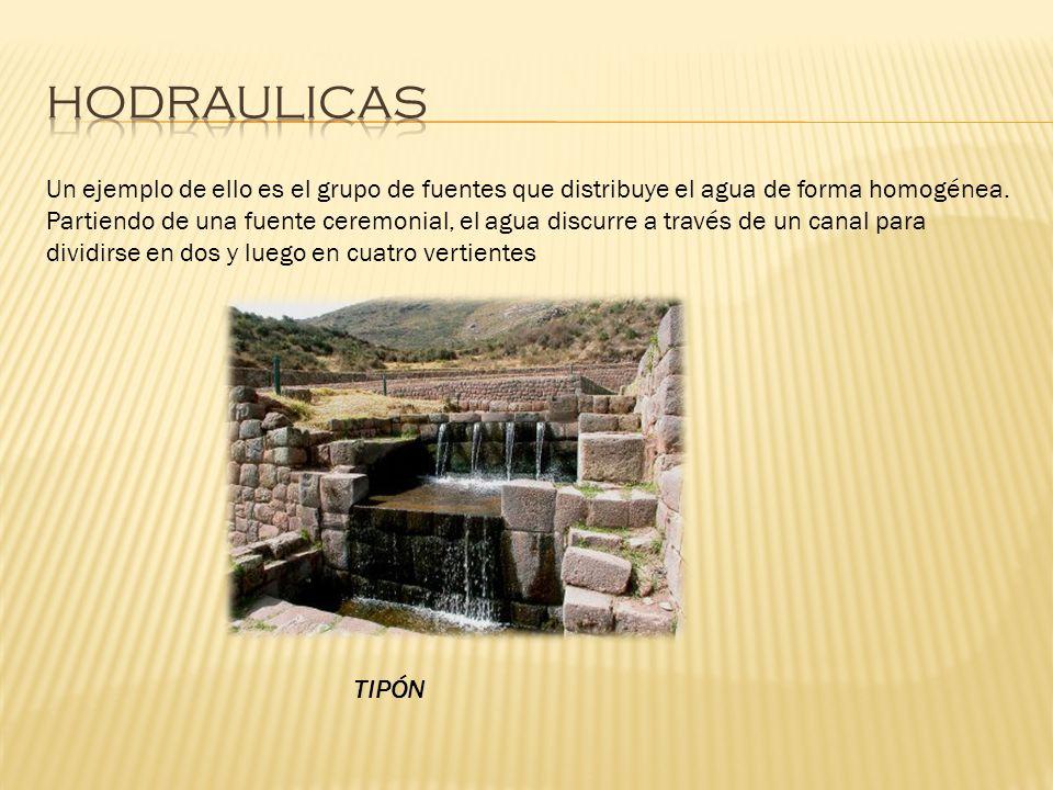 Un ejemplo de ello es el grupo de fuentes que distribuye el agua de forma homogénea. Partiendo de una fuente ceremonial, el agua discurre a través de