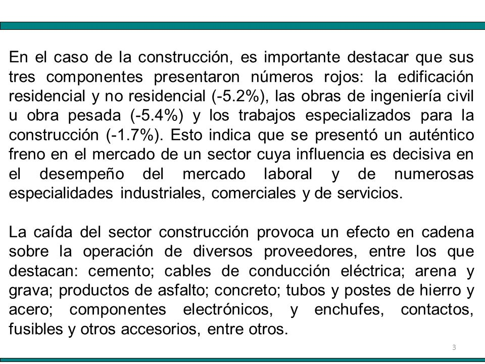 3 En el caso de la construcción, es importante destacar que sus tres componentes presentaron números rojos: la edificación residencial y no residencial (-5.2%), las obras de ingeniería civil u obra pesada (-5.4%) y los trabajos especializados para la construcción (-1.7%).
