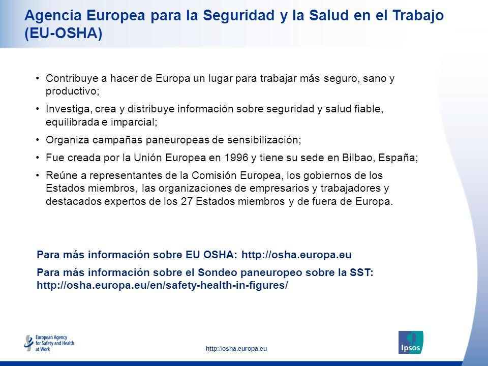 36 http://osha.europa.eu Agencia Europea para la Seguridad y la Salud en el Trabajo (EU-OSHA) Contribuye a hacer de Europa un lugar para trabajar más