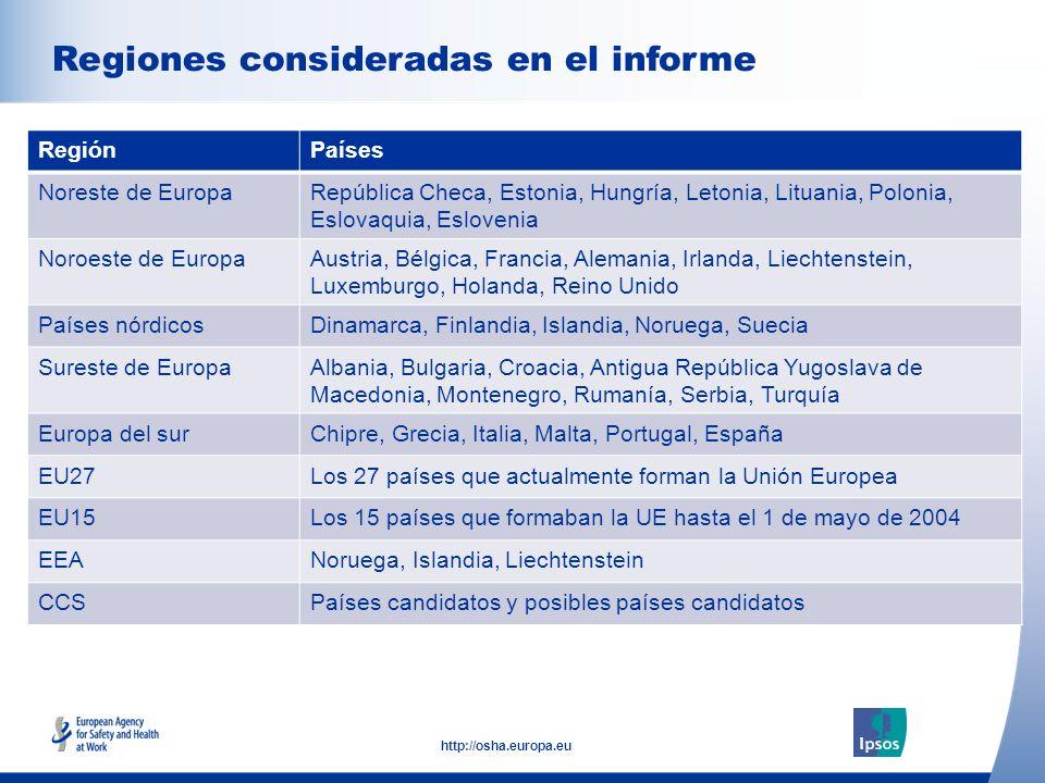 5 http://osha.europa.eu Click to add text here Regiones consideradas en el informe Note: insert graphs, tables, images here RegiónPaíses Noreste de Eu