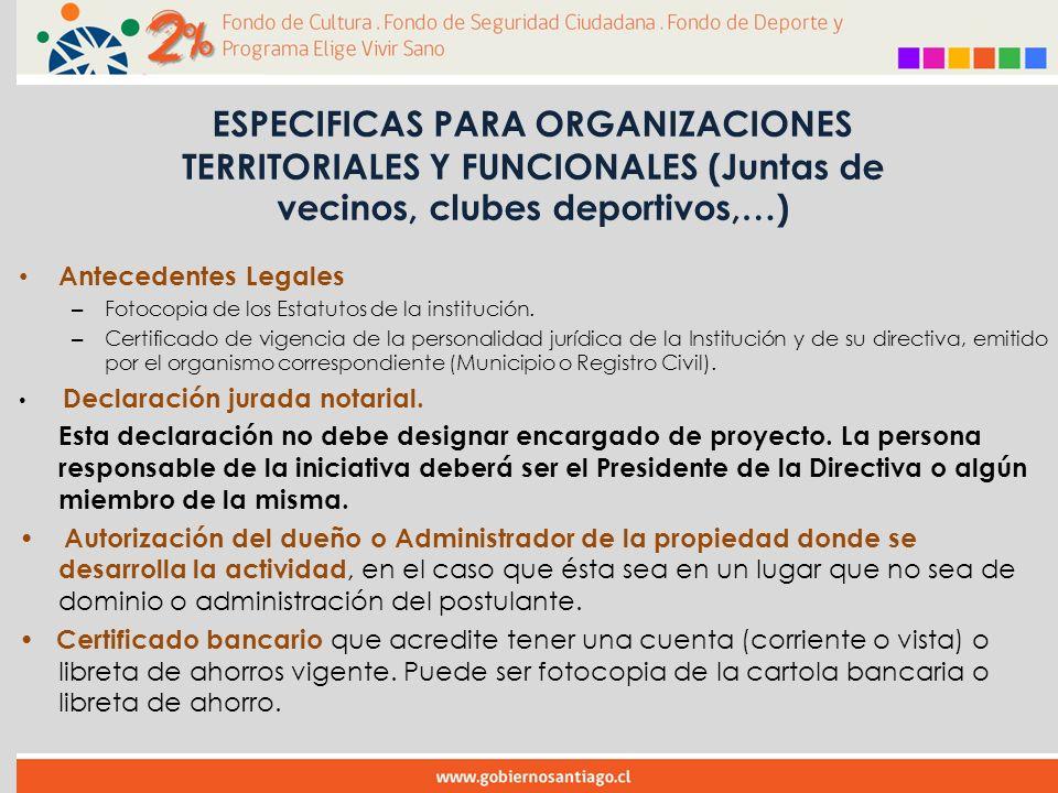 Antecedentes Legales – Fotocopia de los Estatutos de la institución.