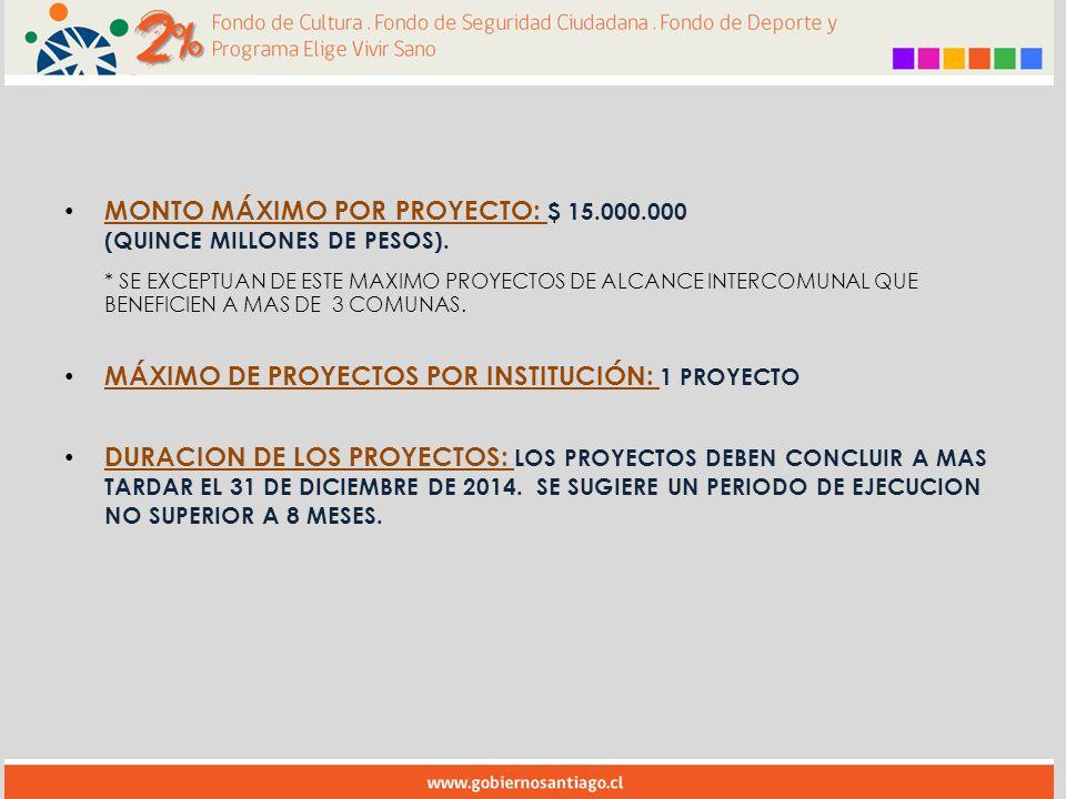 MONTO MÁXIMO POR PROYECTO: $ 15.000.000 (QUINCE MILLONES DE PESOS).
