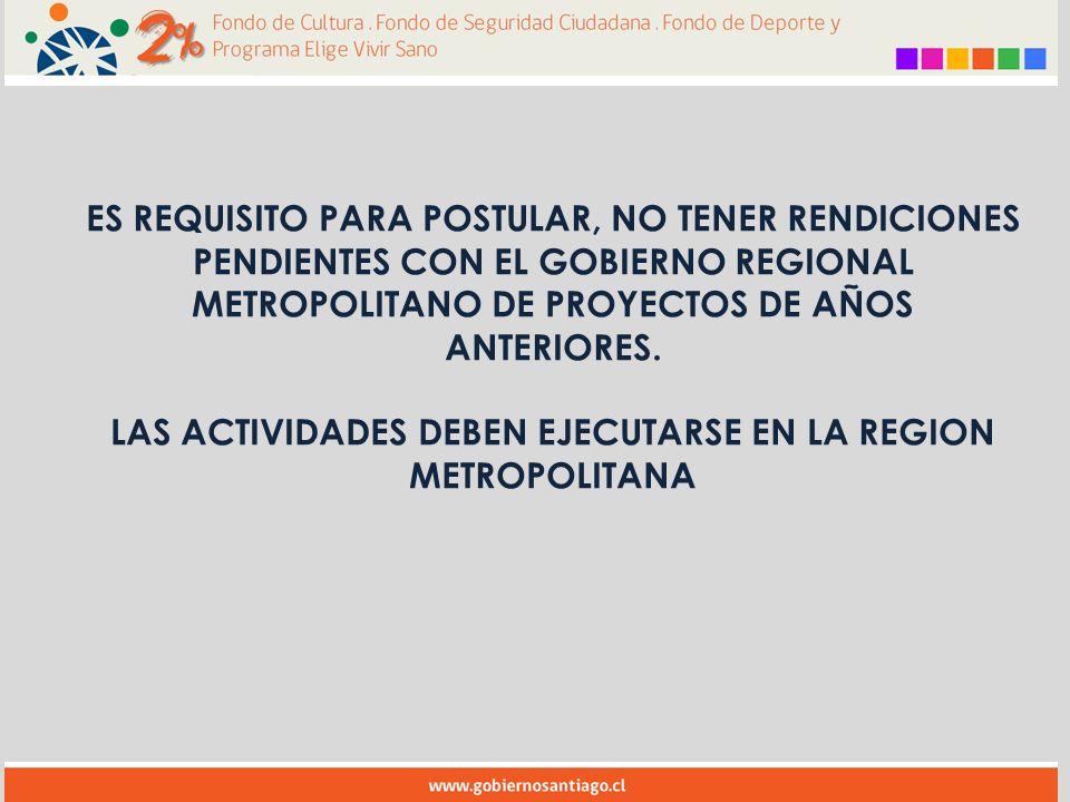 ES REQUISITO PARA POSTULAR, NO TENER RENDICIONES PENDIENTES CON EL GOBIERNO REGIONAL METROPOLITANO DE PROYECTOS DE AÑOS ANTERIORES.