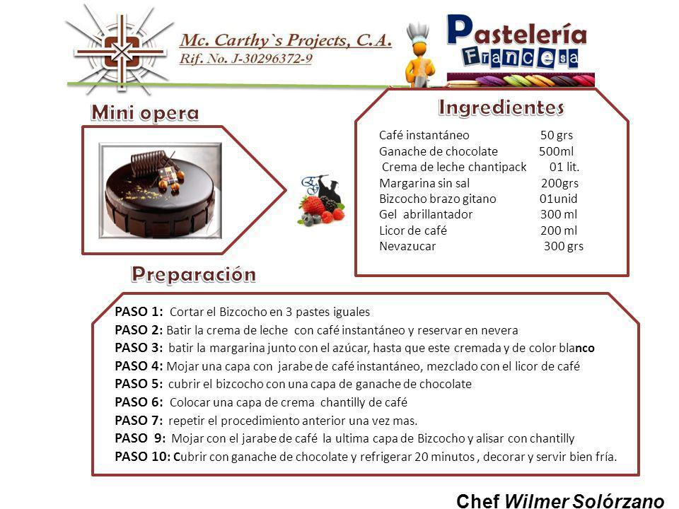 Chef Wilmer Solórzano Café instantáneo 50 grs Ganache de chocolate 500ml Crema de leche chantipack 01 lit.
