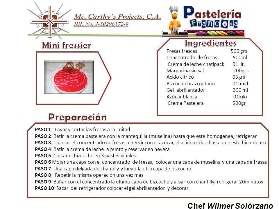 Chef Wilmer Solórzano Fresas frescas 500 grs Concentrado de fresas 500ml Crema de leche chatipack 01 lit.