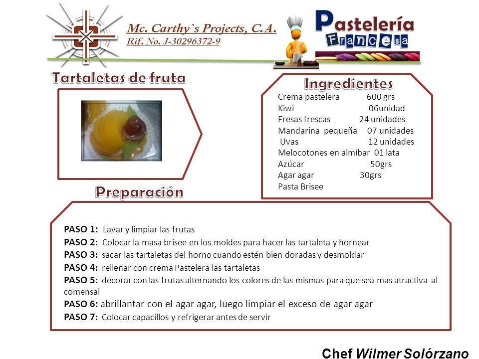 Chef Wilmer Solórzano Crema pastelera 600 grs Kiwi 06unidad Fresas frescas 24 unidades Mandarina pequeña 07 unidades Uvas 12 unidades Melocotones en almíbar 01 lata Azúcar 50grs Agar agar 30grs Pasta Brisee PASO 1: Lavar y limpiar las frutas PASO 2 : Colocar la masa brisee en los moldes para hacer las tartaleta y hornear PASO 3 : sacar las tartaletas del horno cuando estén bien doradas y desmoldar PASO 4 : rellenar con crema Pastelera las tartaletas PASO 5 : decorar con las frutas alternando los colores de las mismas para que sea mas atractiva al comensal PASO 6: abrillantar con el agar agar, luego limpiar el exceso de agar agar PASO 7 : Colocar capacillos y refrigerar antes de servir