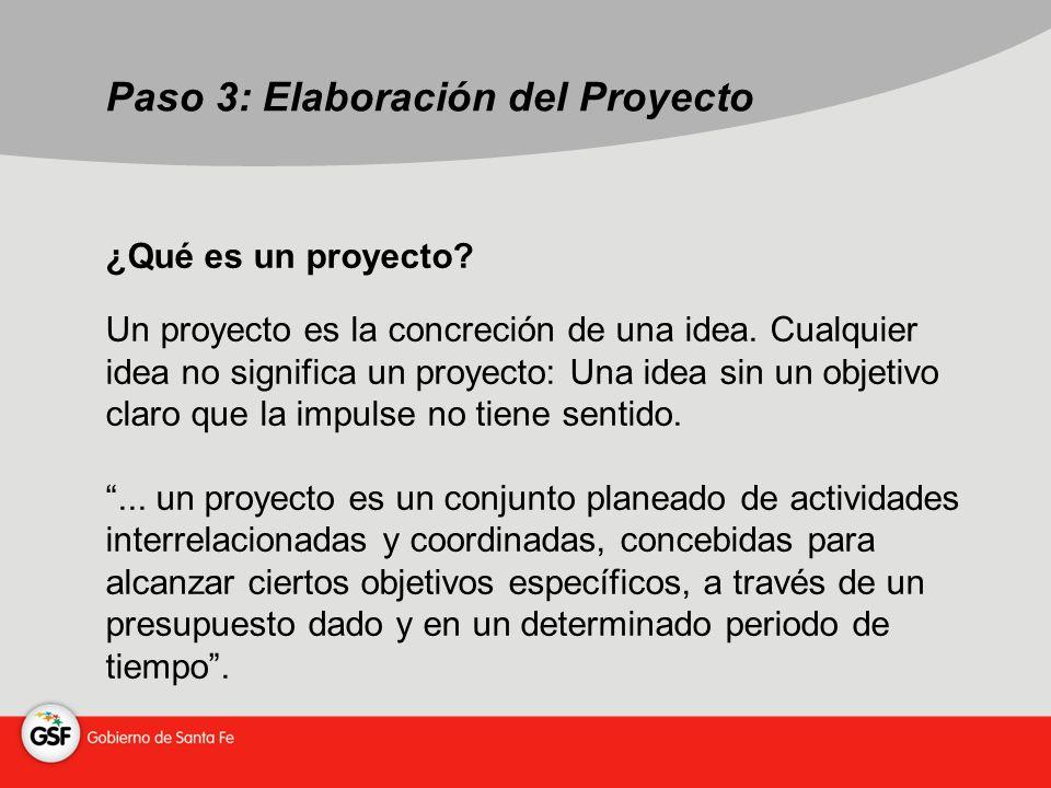 Paso 3: Elaboración del Proyecto ¿Qué es un proyecto.
