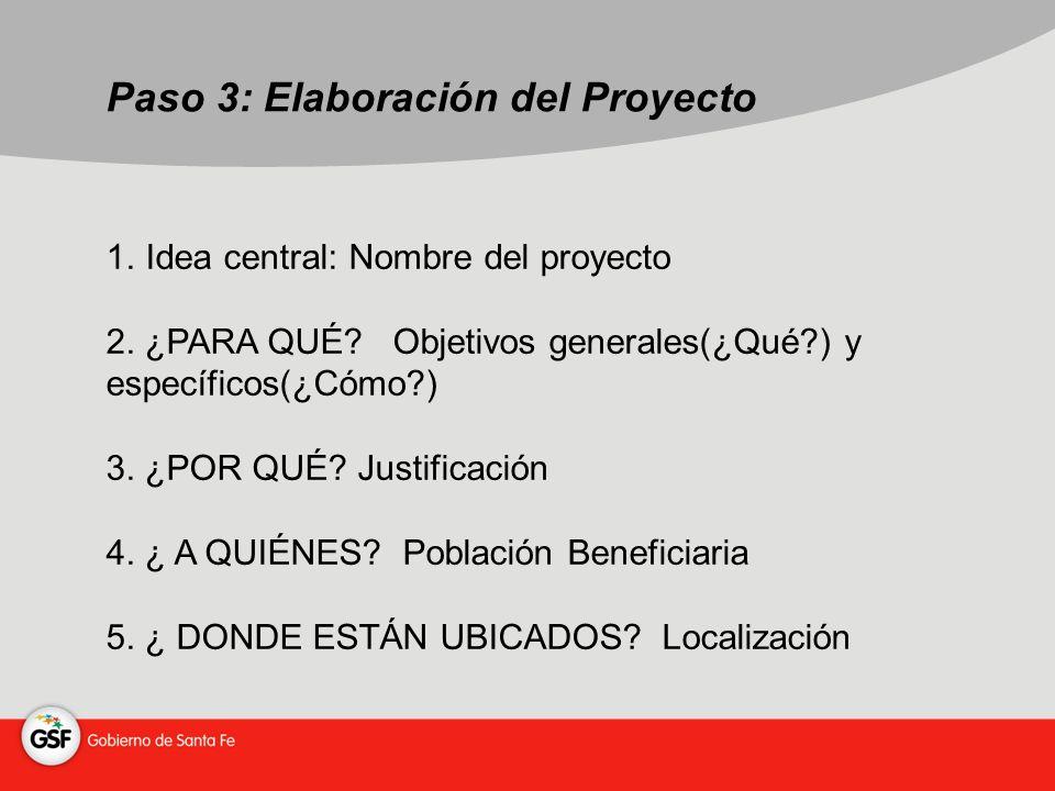 Paso 3: Elaboración del Proyecto 1. Idea central: Nombre del proyecto 2.
