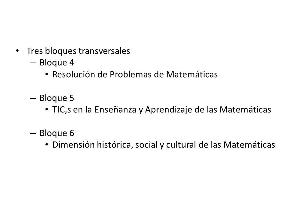 Tres bloques transversales – Bloque 4 Resolución de Problemas de Matemáticas – Bloque 5 TIC,s en la Enseñanza y Aprendizaje de las Matemáticas – Bloqu