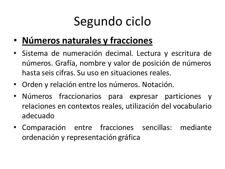 Segundo ciclo Números naturales y fracciones Sistema de numeración decimal. Lectura y escritura de números. Grafía, nombre y valor de posición de núme