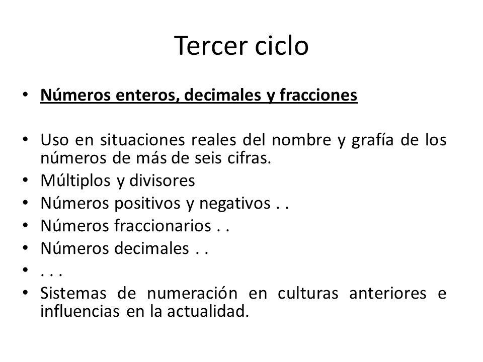 Tercer ciclo Números enteros, decimales y fracciones Uso en situaciones reales del nombre y grafía de los números de más de seis cifras. Múltiplos y d