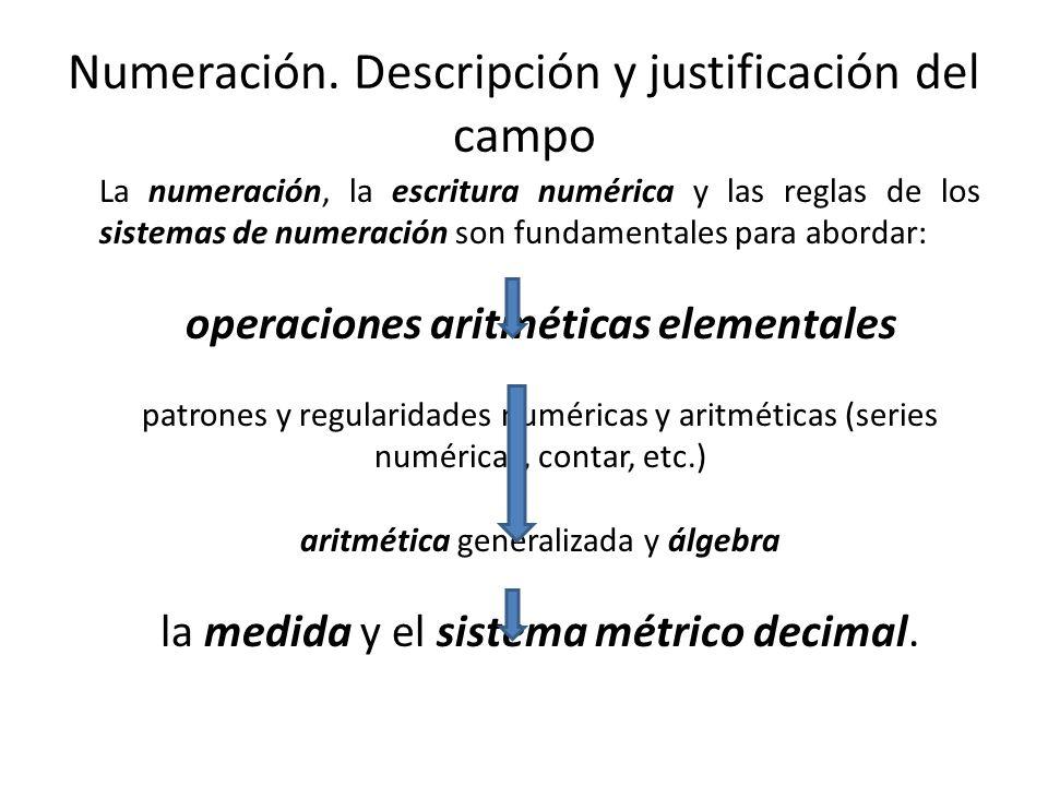 La numeración, la escritura numérica y las reglas de los sistemas de numeración son fundamentales para abordar: operaciones aritméticas elementales pa